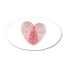 fingerprint heart 22x14 Oval Wall Peel