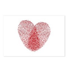 fingerprint heart Postcards (Package of 8)