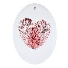 fingerprint heart Ornament (Oval)