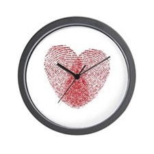 fingerprint heart Wall Clock