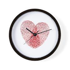 fingerprint heart Wall Clock