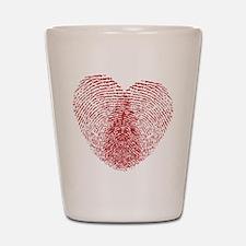 fingerprint heart Shot Glass