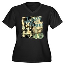 Jazzin The Blues Women's Plus Size V-Neck Dark T-S