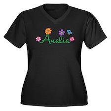 Analia Flowers Women's Plus Size V-Neck Dark T-Shi