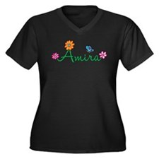 Amira Flowers Women's Plus Size V-Neck Dark T-Shir