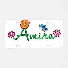 Amira Flowers Aluminum License Plate