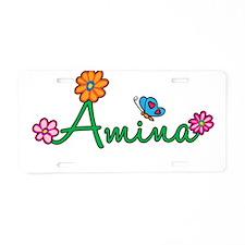Amina Flowers Aluminum License Plate