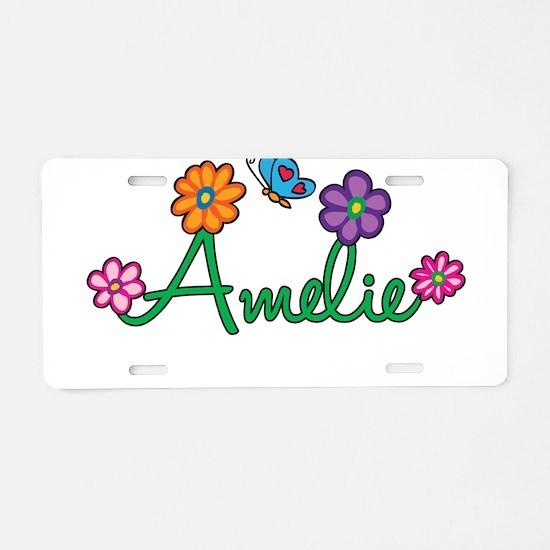 Amelie Flowers Aluminum License Plate