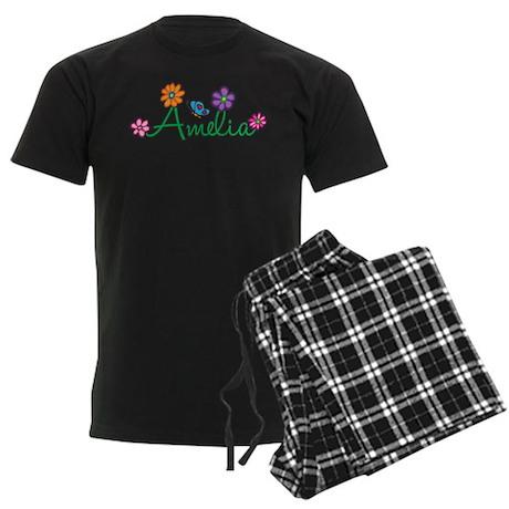 Amelia Flowers Men's Dark Pajamas