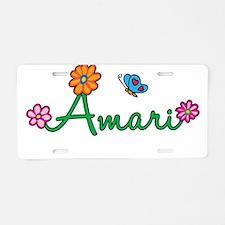 Amari Flowers Aluminum License Plate