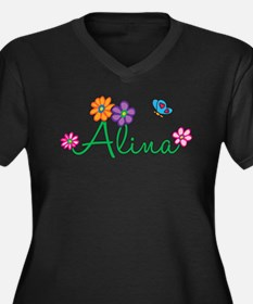 Alina Flowers Women's Plus Size V-Neck Dark T-Shir