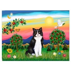 Bright Country / (B&W) Cat Canvas Art