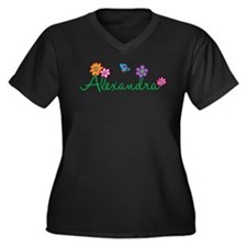 Alexandra Flowers Women's Plus Size V-Neck Dark T-