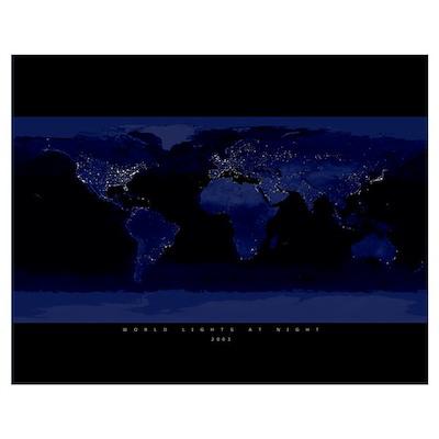 World Lights at Night Poster