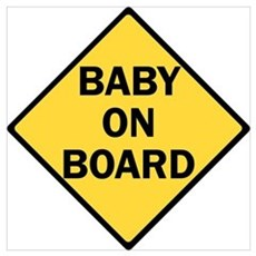 baby on board yellow Canvas Art