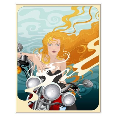 Sexy Bike Girl Poster