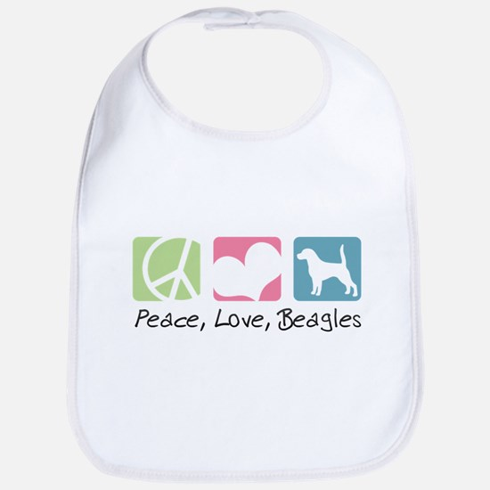 Peace, Love, Beagles Bib