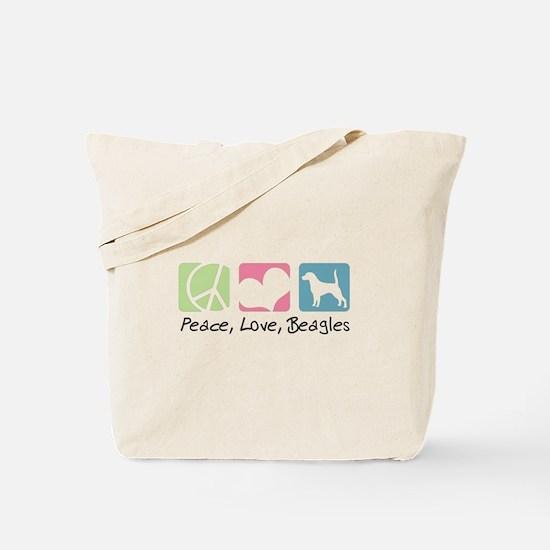Peace, Love, Beagles Tote Bag
