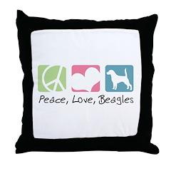 Peace, Love, Beagles Throw Pillow