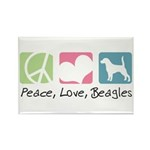 Peace, Love, Beagles Rectangle Magnet (100 pack)