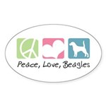 Peace, Love, Beagles Sticker (Oval 10 pk)
