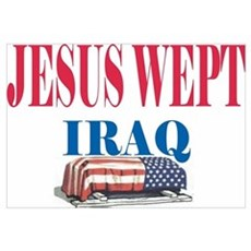 Jesus Wept Red,White & Blue Canvas Art