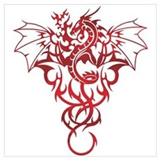 Red Tribal Dragon Poster
