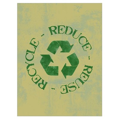 Distressed Reduce Reuse Recyc Framed Print