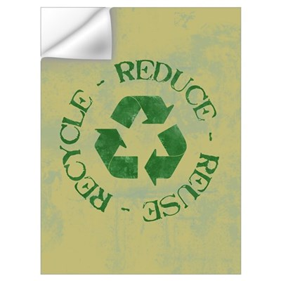Distressed Reduce Reuse Recyc Wall Decal