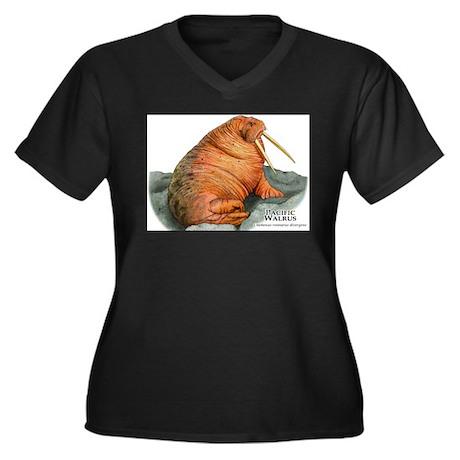 Pacific Walrus Women's Plus Size V-Neck Dark T-Shi