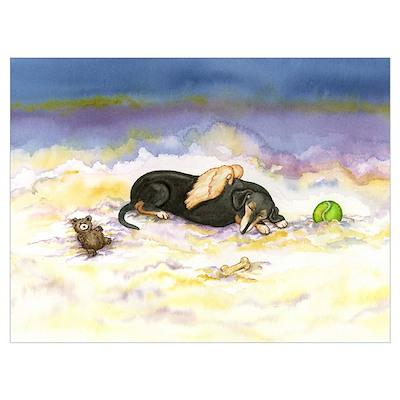 BT Weiner Dog Angel Poster