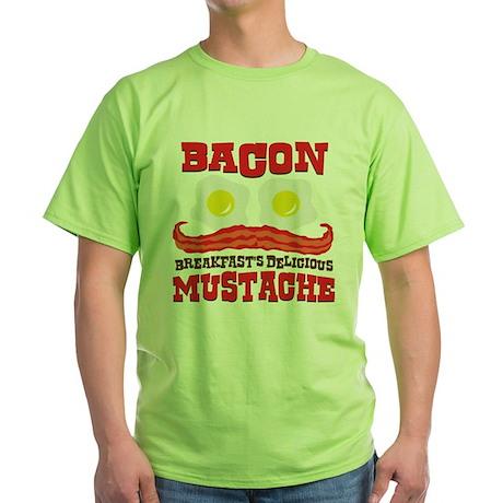 Bacon Mustache Green T-Shirt