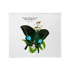 Paris Peacock Butterfly Throw Blanket