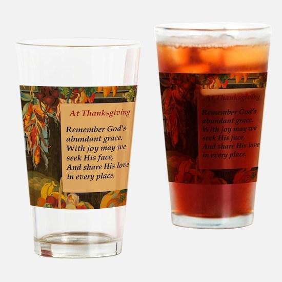 At Thanksgiving Poem Drinking Glass