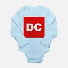 DC (Red and White) Long Sleeve Infant Bodysuit