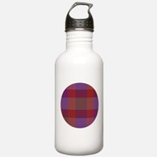 Purple Plaid Fractal Water Bottle