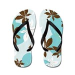 Blue n Brown Foliage Flip Flops