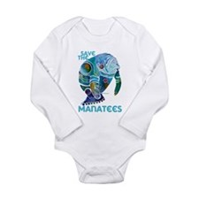 Save the Manatees Long Sleeve Infant Bodysuit