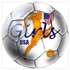 US Girls Soccer Ball Poster