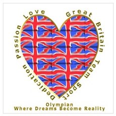 Great Britain Heart Poster