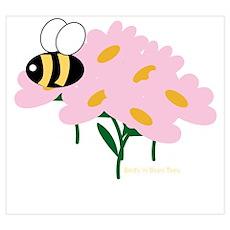 Triplet Bee Pink Flowers Poster