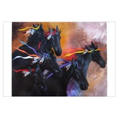 Black Running War Horses - Horse Lover's Prize! Canvas Art