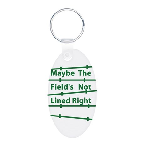 Field Lined - reboot Aluminum Oval Keychain