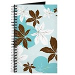 Blue Brown White Leaves Journal