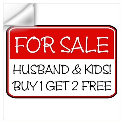 4SALE HUSB/KIDS (red) Wall Decal