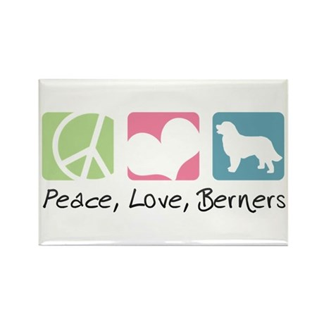 Peace, Love, Berners Rectangle Magnet (10 pack)