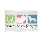 Peace, Love, Berners Rectangle Magnet (100 pack)