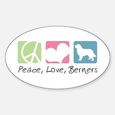 Peace, Love, Berners Sticker (Oval)
