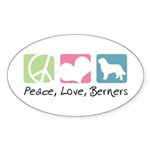 Peace, Love, Berners Sticker (Oval 10 pk)