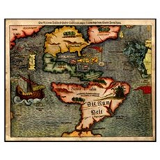 Map of the Americas Framed Print